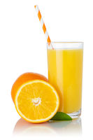 Orange juice smoothie fruit drink straw oranges in a glass isolated on white
