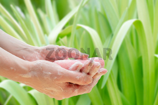 Antibacterial soap in the hands. Hand disinfection with soap. Cleanliness and hygiene in everyday life. Hand hygiene