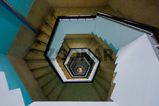 Spiral staircase of the new lighthouse in Puducherry, South India