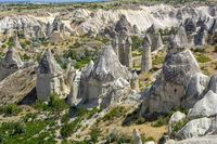 Typical rock formations in the Cappadocia region, Turkey