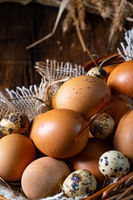 Fresh eggs straight from the farm in a basket