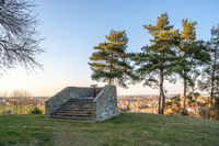 Pichora Marcomanni burial ground south of Dobrichov in the Kolin region Czech republic. Archaeological excavations With small lookout tower with wiew to small city Dobrichov. Educational trail.