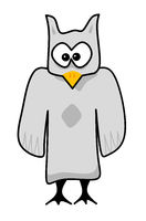 comic character gray watching owl
