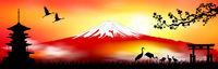 Mount Fuji at sunset japanese landscape