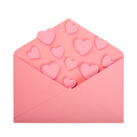 Pink love letter on white