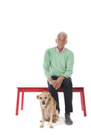 Old man with senior dog