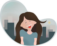 Young happy girl in big city. Vector illustration.