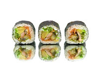 Japanese rolls with avocado and eel on white background