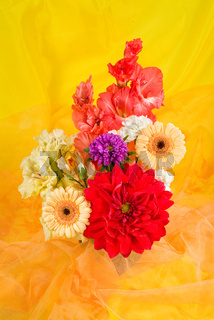 Bouquet Of Flowers On Fabric