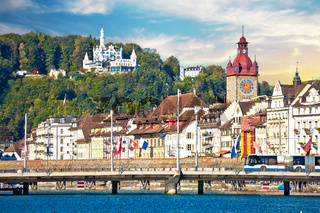 Luzern. Town of Luzern famous landmarks view from lake