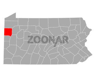 Karte von Mercer in Pennsylvania - Map of Mercer in Pennsylvania