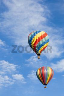 Beautiful Hot Air Balloons Against a Deep Blue Sky