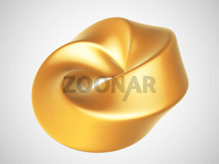 3D golden abstract geometric shape isolated on white background.