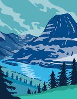 Glacier National Park and Kintla Lake in Montana United States WPA Poster Art Color
