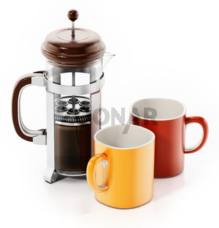 Fench press with coffee and mugs isolated on white background. 3D illustration