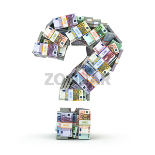 Question sign from packs of euro isolated on white.