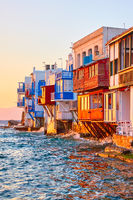 Famous houses by the sea in Mykonos island