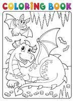 Coloring book lying dragon theme 3