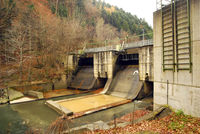 small hydroelectric power station in autumn