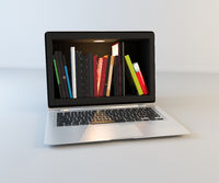 Bookshelf in laptop screen realistic 3D rendering