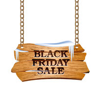 Black Friday sale lettering on Wooden sign suspended on chains.