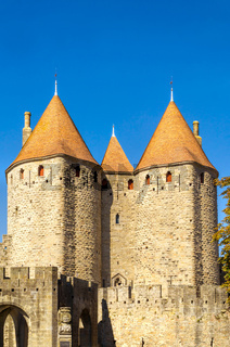 Three towers of the medieval fortress in Carcassonne
