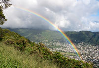 Rainbow over the suburbs of Woodlawn and Manoa in Honolulu, Oahu