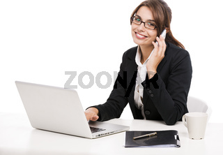 Businesswoman answering phone