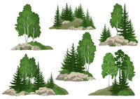 Landscapes with Trees and Rocks
