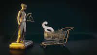 beautiful brass Lady Justice figure with a shopping cart
