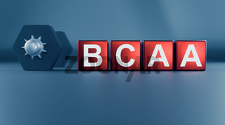 Blocks with the Letters BCAA and a dumbbell