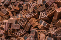 Pile of bricks on the building site