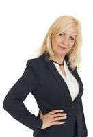 Upper body portrait of a blonde business woman