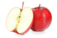 Fresh Apples with water drops isolated on white background, including clipping path without shade. Germany