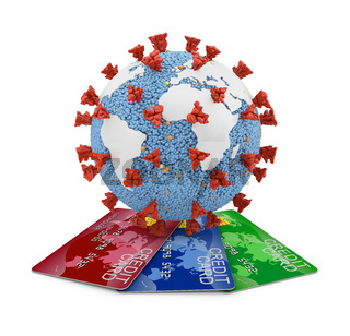 Coronavirus with continents and credit cards