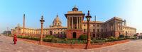 Rashtrapati Bhavan, president residence in India, Delhi, morning panorama