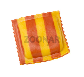 Fresh  ravioli with lobster meat on white background