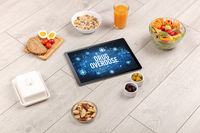 Tablet Pc with fruits, healthy concept