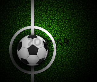 Football field with ball and a grass texture.