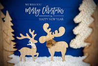 Christmas Tree, Moose Couple In Love, Snow, Merry Christmas And A Happy New Year