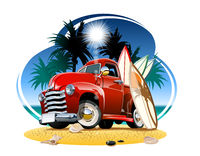 Vector cartoon retro pickup on beach