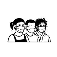 Children of Different Race and Ethnicity Wearing Face Mask Retro Black and White