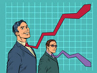 competition of graphs in business, ties of businessmen as curves of indicators