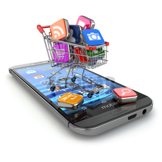 Store of mobile software. Smartphone apps icons in shopping cart.