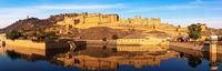Amber Fort, full view panorama, Jaipur, Rajasthan. India
