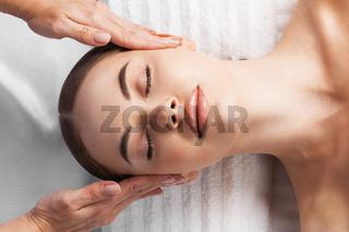 Woman at facial massage
