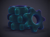 Stack of 3D digital futuristic gears on gray background.