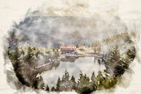 watercolor Mummelsee Black Forest