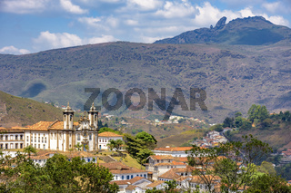 Top view of historic church in Baroque and colonial style from the 18th century in the city of Ouro Preto
