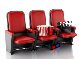 3d Cinema clapper board, popcorn and drink on theater seat.